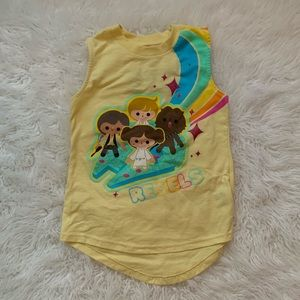 Star Wars Rebels Yellow Muscle Tee Girls size 4